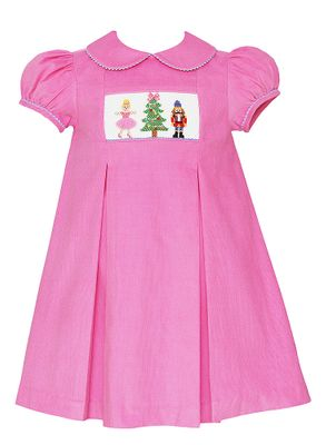 Anavini Girls Pink Corduroy Smocked Nutcracker Ballet Dress with Collar