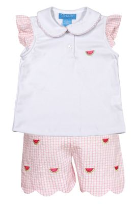 Anavini Girls Pink Gingham Seersucker Scallop Shorts with Top - Embroidered Watermelons