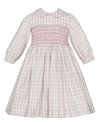 Anavini Girls Pink / Gray Plaid Dress - Fully Smocked Bodice