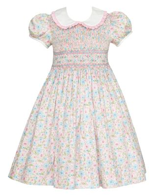 Anavini Couture Girls Pink Pastels Liberty Floral Dress - Fully Smocked Bodice