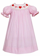 Anavini Girls Pink Plaid Smocked Valentine's Hearts Bishop Dress
