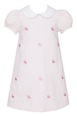 Anavini Girls Pink Stripe Seersucker Embroidered Easter Bunnies Dress