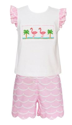 Anavini Girls Pink Waves Shorts with Smocked Flamingo Top