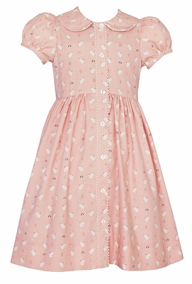 Anavini Girls Pink / White Kitty Cats Print Dress - Button Front and Collar