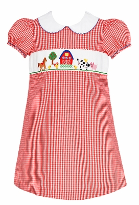 Anavini Girls Red Check Smocked Farm Animals Dress with Collar