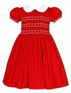 Anavini Couture Girls Red Christmas Dress with White Collar - Fully Smocked Bodice