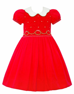 Anavini Couture Girls Red Corduroy Christmas Wreath Dress - Scallop Collar - Fully Smocked Bodice