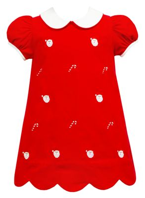 Anavini Girls Red Corduroy Dress - Scallop Hem - Embroidered Santa Faces