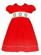 Anavini Girls Red Corduroy Dress - Smocked Christmas Wreaths - Collar