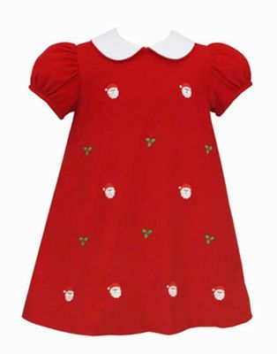 Anavini Girls Red Corduroy Embroidered Santa Faces Float Dress