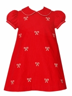 Anavini Girls Red Corduroy Float Dress with Collar - Embroidered Candy Canes