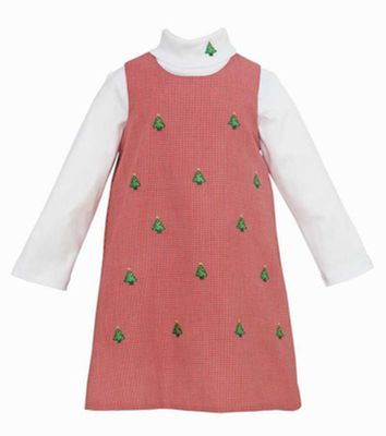 Anavini Girls Red Gingham Jumper Dress Set - Embroidery Christmas Trees
