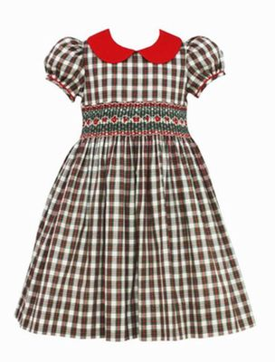 Anavini Girls Red / Green Holiday Plaid Smocked Dress - Red Collar