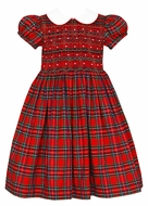 Anavini Girls Red Holiday Plaid Christmas Dress - White Collar - Fully Smocked Bodice
