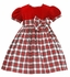 Anavini Girls Red Holiday Plaid Christmas Float Dress - Red Velvet Bodice