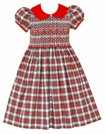 Anavini Couture Girls Red / White Holiday Plaid Dress - Red Scallop Collar - Fully Smocked Bodice