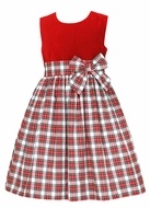 Anavini Girls Red Holiday Plaid Sleeveless Christmas Dress - Red Velvet Bodice
