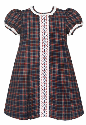 Anavini Girls Red / Navy Blue Plaid Float Dress - Smocked Ruffle Front
