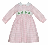Anavini Girls Pink Check Smocked Christmas Trees Dress - Long Sleeves & Collar