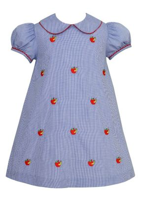 Anavini Girls Royal Blue Check School Dress - Embroidered Apples