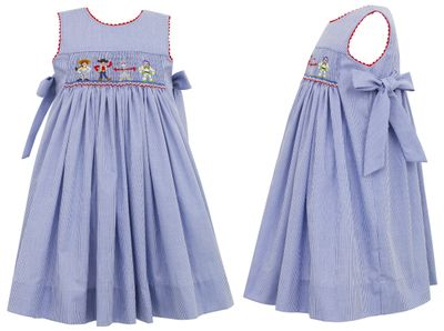 Anavini Girls Royal Blue Check Smocked Toy Story Friends Dress with Side Bows