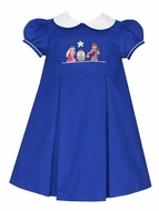 Anavini Girls Royal Blue Corduroy Smocked Nativity Manger Scene Dress with Collar