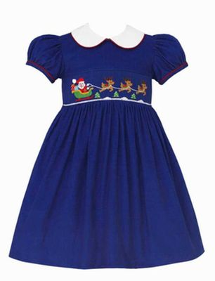 Anavini Girls Royal Blue Corduroy Smocked Santa Sleigh Dress with Collar