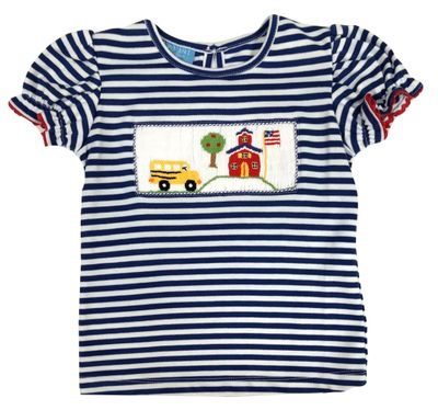 Anavini Girls Royal Blue Striped Smocked School Bus Top