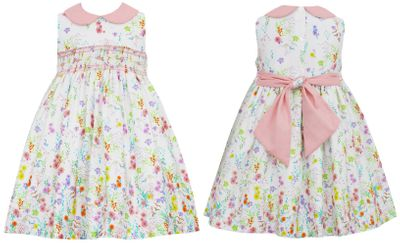 Anavini Couture Girls Sleeveless Garden Floral Dress - Pink Collar and Sash