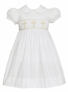 Anavini Girls White Poplin Smocked Crosses Dress with Collar