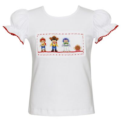 Anavini Girls White Top - Smocked Story Book Toy Friends