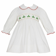 Anavini Girls Winter White Corduroy Smocked Christmas Holly Dress - Long Sleeves