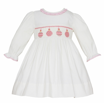 Anavini Girls Winter White Corduroy Smocked Pink Christmas Ornaments Dress - Long Sleeves