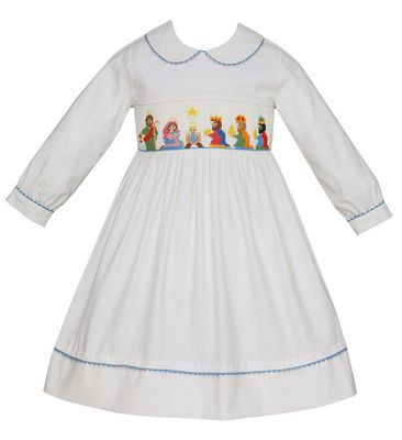 Anavini Girls Winter White Corduroy Smocked Nativity Dress - Long Sleeves