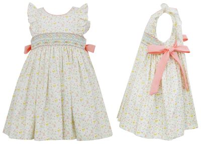 Anavini Girls Yellow / Pink Floral Smocked Dress - Bows at Sides