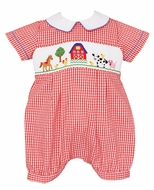 Anavini Infant Boys Red Check Smocked Farm Animals Bubble