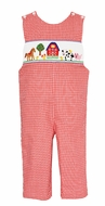 Anavini Infant / Toddler Boys Red Check Smocked Farm Animals Longall