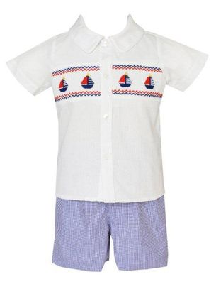 Anavini Toddler Boys Blue Check Shorts with Smocked Sailboats Shirt