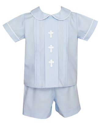 Anavini Toddler Boys Blue Poplin Embroidery Crosses Shorts Set
