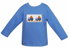 Anavini Toddler Boys Blue Shirt with Smocked Pumpkin Trucks