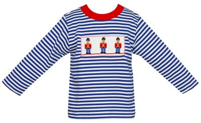 Anavini Toddler Boys Blue Striped Shirt - Smocked Soldiers
