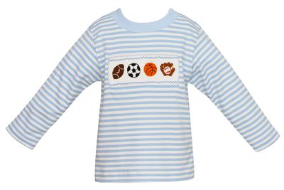 Anavini Toddler Boys Blue Striped Shirt - Smocked Sports Balls