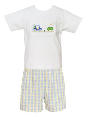 Anavini Toddler Boys Blue / Yellow Plaid Shorts with Smocked Golf Shirt