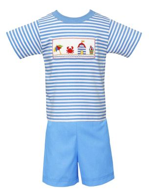 Anavini Velani Toddler Boys Periwinkle Blue Shorts with Smocked Beach Cabanas Striped Shirt