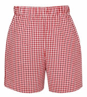 Anavini Toddler Boys Pull On Shorts - Red Gingham