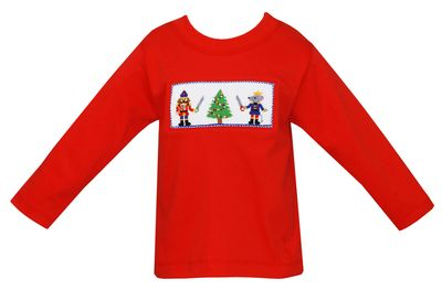 Anavini Toddler Boys Red Smocked Nutcrackers Shirt
