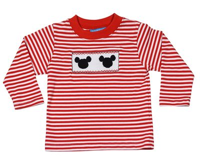 Anavini Toddler Boys Red Stripe Shirt - Smocked Mouse Ears