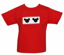 Anavini Toddler Boys Red T-Shirt - Smocked Mouse Ears