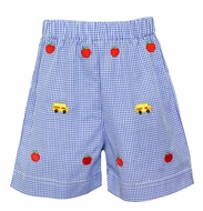 Anavini Toddler Boys Royal Blue Check Embroidered Apples & School Bus Shorts