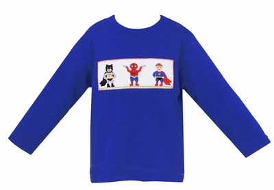 Anavini Toddler Boys Royal Blue Knit Shirt - Smocked Super Heroes